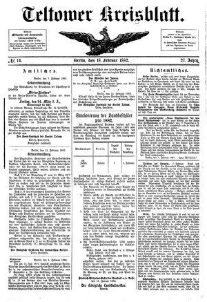 Teltower Kreisblatt vom 18.02.1882