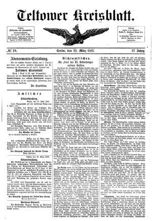 Teltower Kreisblatt vom 25.03.1882