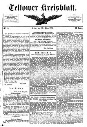 Teltower Kreisblatt vom 29.03.1882