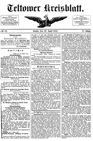 Teltower Kreisblatt vom 22.04.1882