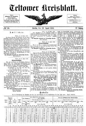 Teltower Kreisblatt vom 29.04.1882