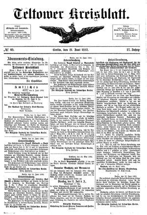 Teltower Kreisblatt vom 21.06.1882