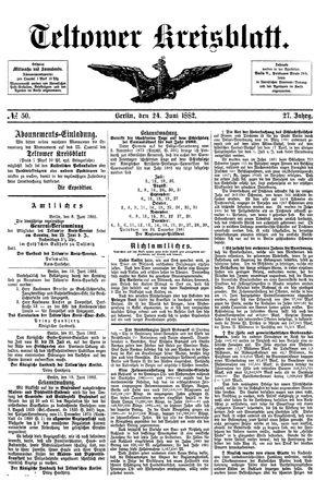 Teltower Kreisblatt vom 24.06.1882