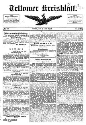 Teltower Kreisblatt vom 05.07.1882