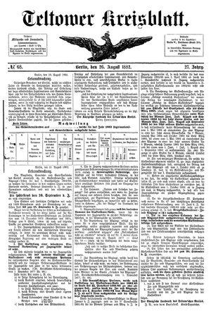 Teltower Kreisblatt vom 26.08.1882