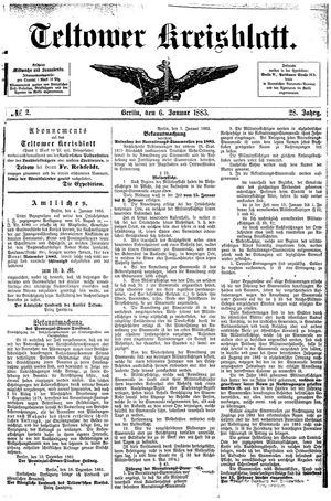 Teltower Kreisblatt vom 06.01.1883