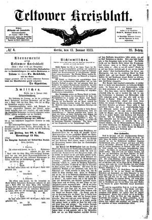 Teltower Kreisblatt vom 13.01.1883
