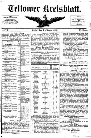 Teltower Kreisblatt vom 07.02.1883