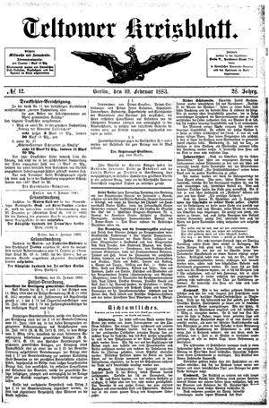 Teltower Kreisblatt vom 10.02.1883