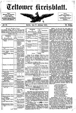 Teltower Kreisblatt vom 17.02.1883