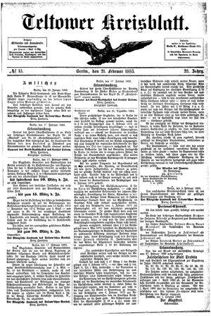 Teltower Kreisblatt vom 21.02.1883