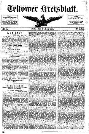 Teltower Kreisblatt vom 03.03.1883