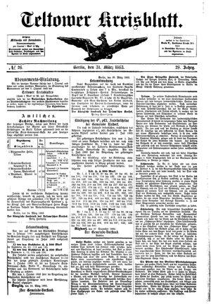 Teltower Kreisblatt vom 31.03.1883