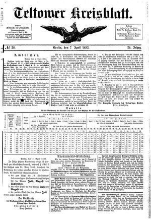 Teltower Kreisblatt vom 07.04.1883