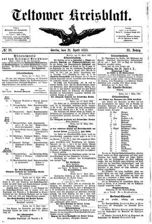 Teltower Kreisblatt vom 21.04.1883