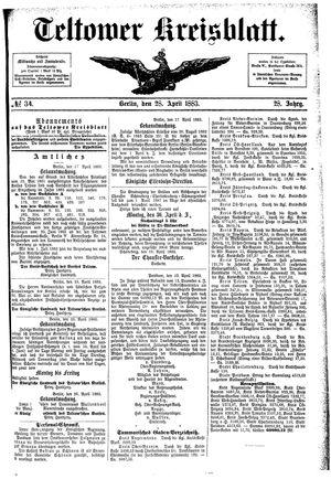 Teltower Kreisblatt vom 28.04.1883