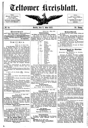 Teltower Kreisblatt on May 2, 1883