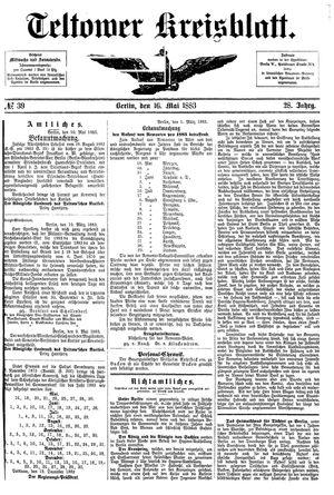 Teltower Kreisblatt on May 16, 1883