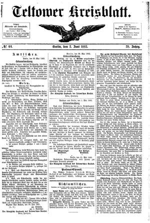 Teltower Kreisblatt vom 02.06.1883