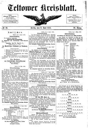 Teltower Kreisblatt vom 09.06.1883