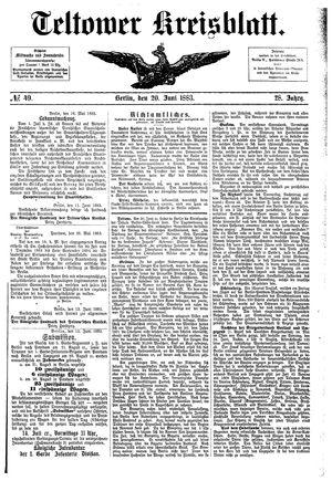 Teltower Kreisblatt vom 20.06.1883