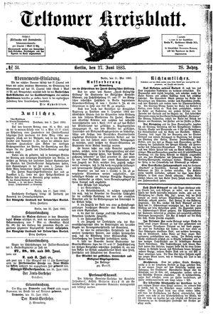 Teltower Kreisblatt vom 27.06.1883