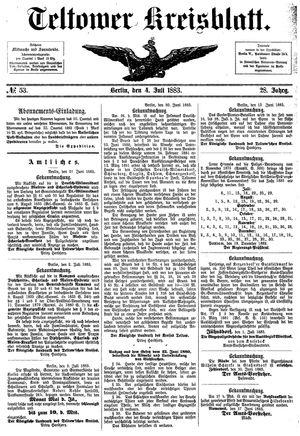 Teltower Kreisblatt vom 04.07.1883