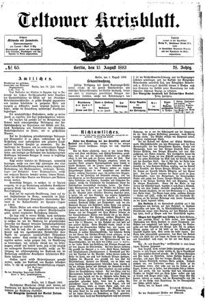 Teltower Kreisblatt vom 15.08.1883