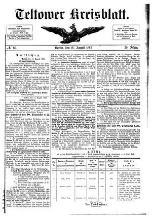 Teltower Kreisblatt vom 18.08.1883