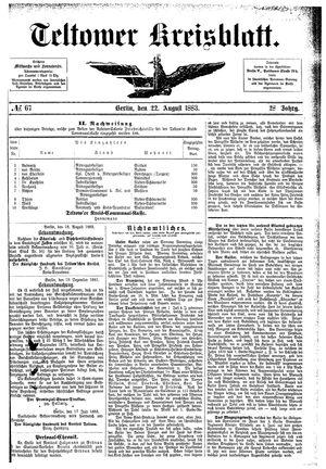 Teltower Kreisblatt vom 22.08.1883