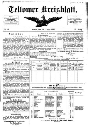 Teltower Kreisblatt on Aug 25, 1883