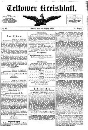 Teltower Kreisblatt vom 29.08.1883