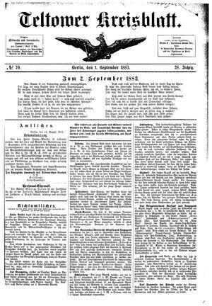 Teltower Kreisblatt vom 01.09.1883