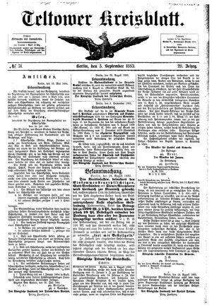 Teltower Kreisblatt vom 05.09.1883