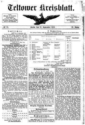 Teltower Kreisblatt vom 12.09.1883