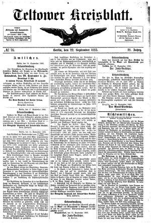 Teltower Kreisblatt vom 22.09.1883
