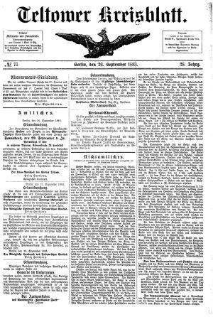 Teltower Kreisblatt vom 26.09.1883
