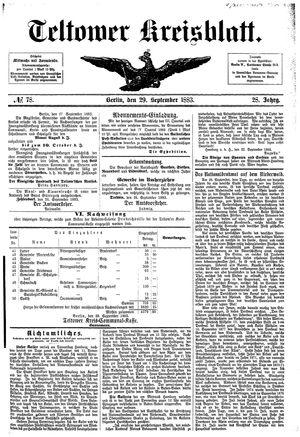 Teltower Kreisblatt vom 29.09.1883
