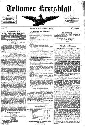 Teltower Kreisblatt vom 17.10.1883