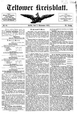 Teltower Kreisblatt vom 03.11.1883