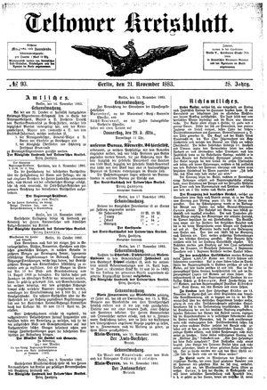 Teltower Kreisblatt vom 21.11.1883