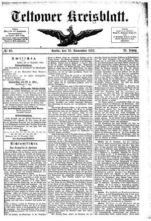 Teltower Kreisblatt vom 28.11.1883