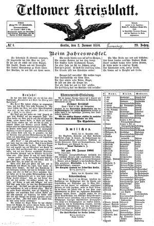 Teltower Kreisblatt vom 02.01.1884