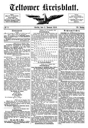 Teltower Kreisblatt vom 05.01.1884