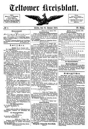Teltower Kreisblatt vom 16.01.1884