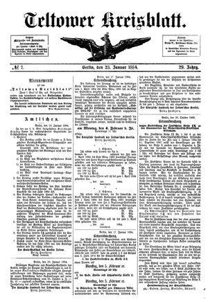 Teltower Kreisblatt vom 23.01.1884