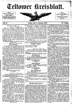 Teltower Kreisblatt vom 09.02.1884