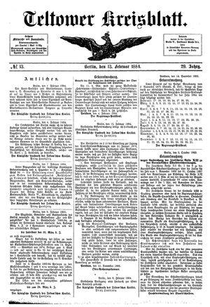 Teltower Kreisblatt vom 13.02.1884
