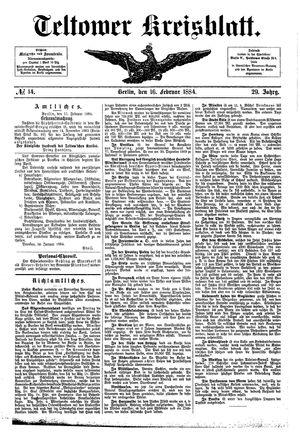 Teltower Kreisblatt vom 16.02.1884
