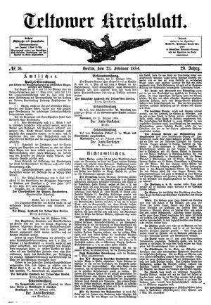 Teltower Kreisblatt vom 23.02.1884